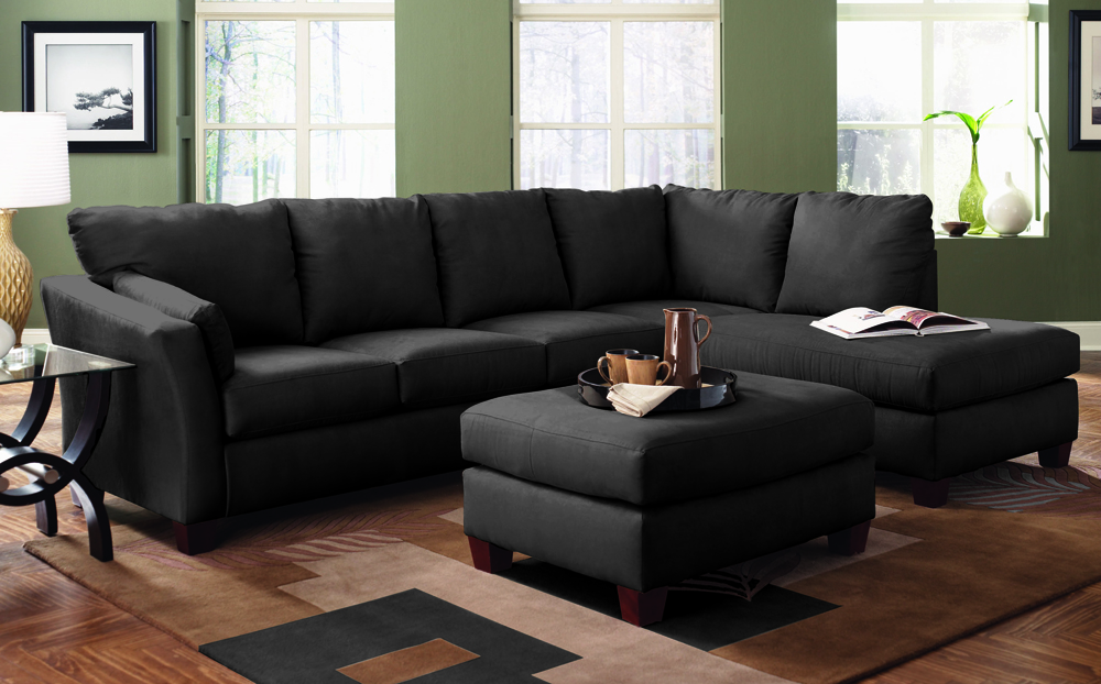 Sienna Queen Chaise Sectional Sleeper in Black Microfiber