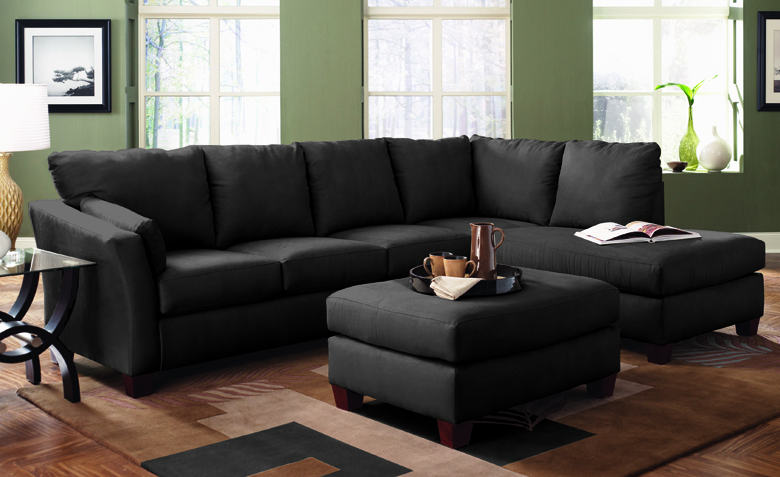 The Sienna Queen Chaise Sectional Sleeper in a Black Microfiber