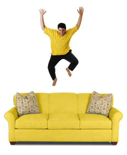 Jumping on a Yellow Sleeper Sofa