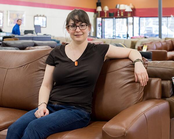 Liz Sits on Savvy sleeper sofa