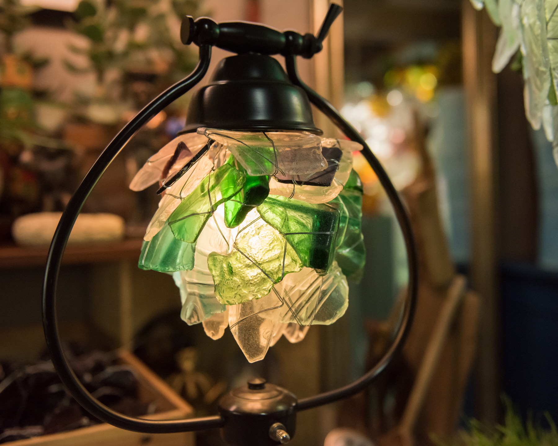 Green and White Glass Light Fixture