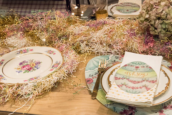 Glittery Tinsel as table decor