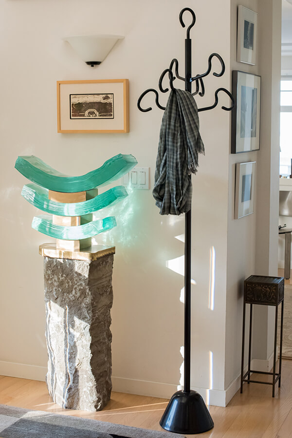 Curating and Displaying Art: Glass Sculpture and Coat Rack